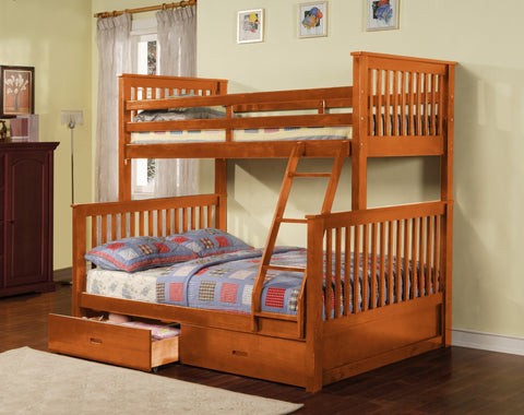 Wood Convertible Twin / Full Bunk Bed Honey Pine - Furnlander