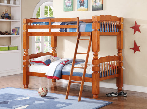 Wood Convertible Twin / Twin Bunk Bed Honey Pine - Furnlander