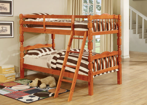 Bora Wood Convertible Twin / Twin Bunk Bed Honey Pine - Furnlander