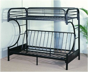 "Twin / Full ""C"" Style Metal Futon Bunk Bed Black - Furnlander"