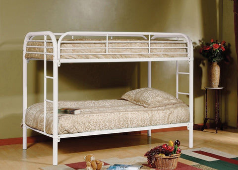 Twin / Twin Metal Bunk Bed White - Furnlander