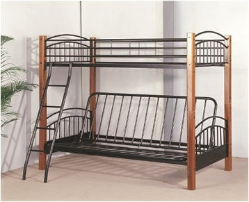Twin / Futon Convertible Wood / Metal Bunk Bed - Furnlander