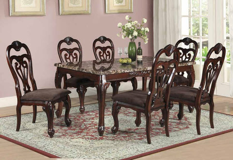Regalia Dining Table Set;  Table + 6 Chairs  (7 PCS. SET) - Furnlander