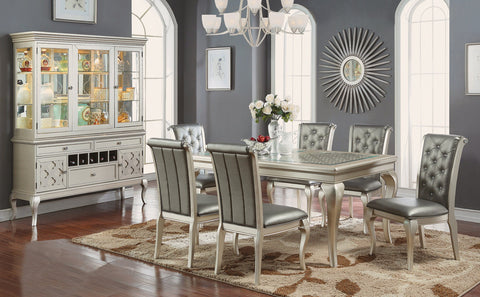 Champagne Dining Table Set;  Table + 6 Side Chairs (7 PCS. SET)