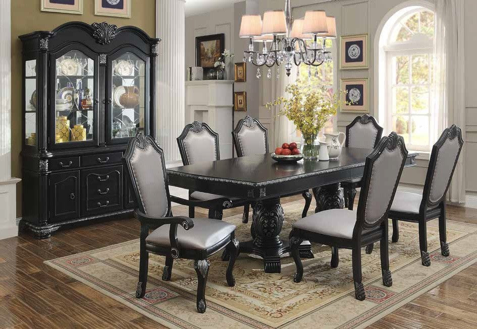 Emilia Double Pedestal Formal Dining Table Set;  Table + 4 Side Chairs + 2 Arm Chairs  (7 PCS. SET) - Furnlander