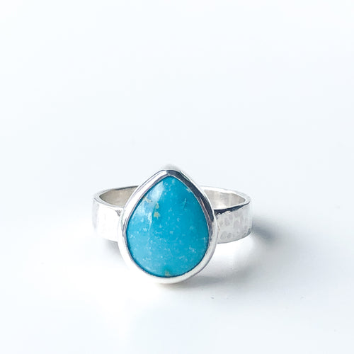 Pear Shaped Turquoise and Silver Ring - Size 7