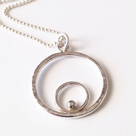 Orbital Aqua Chalcedony Spiral Necklace