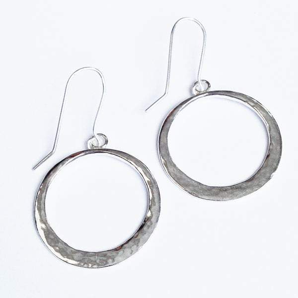 Large boho silver hoop earrings