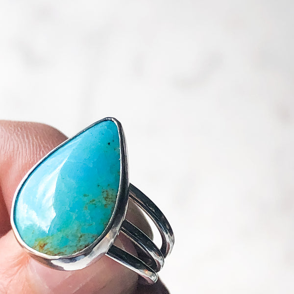 Number 8 Mine Turquoise Triple Band Ring - Size 7.5