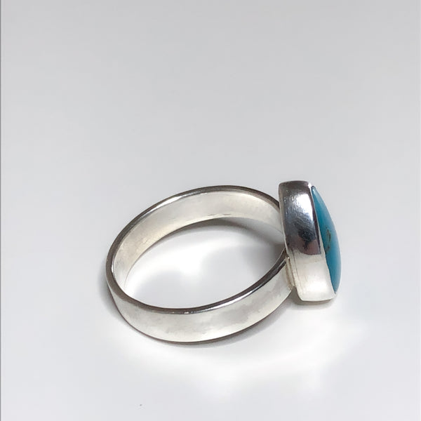 Oval Turquoise and Silver Ring, Size 7.5