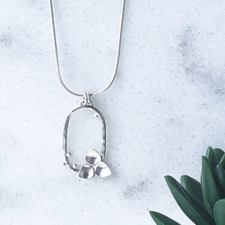 Winter Moonlight Rainbow Moonstone and Silver Pendant