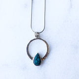 Turquoise and Silver Encircled Pendant