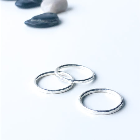 Small Modern Bohemian Silver Hammered Hoops Post Back Earrings