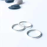 Three hammered texture stacking rings