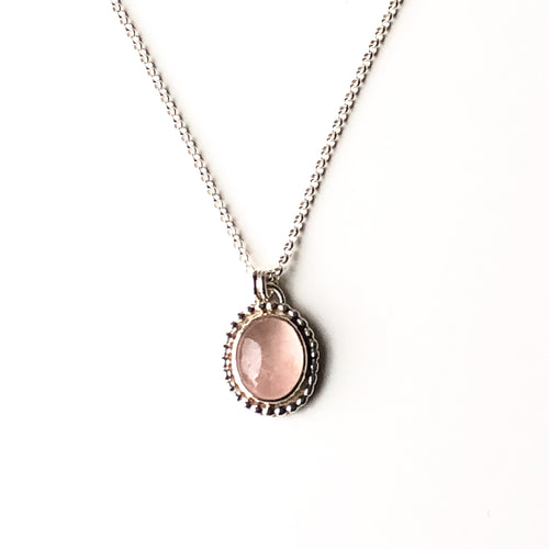 Small Rose Quartz Oval Pendant with Silver Beaded Border