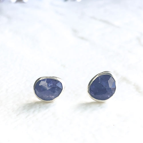 Imperfectly Paired Tanzanite Stud Earrings II