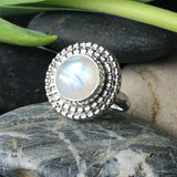 Moonstone and silver statement birthstone cocktail ring