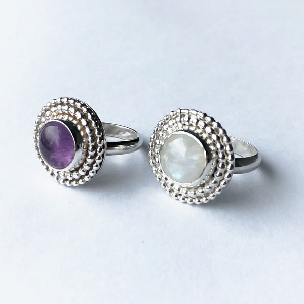 Statement cocktail rings in moonstone or amethyst