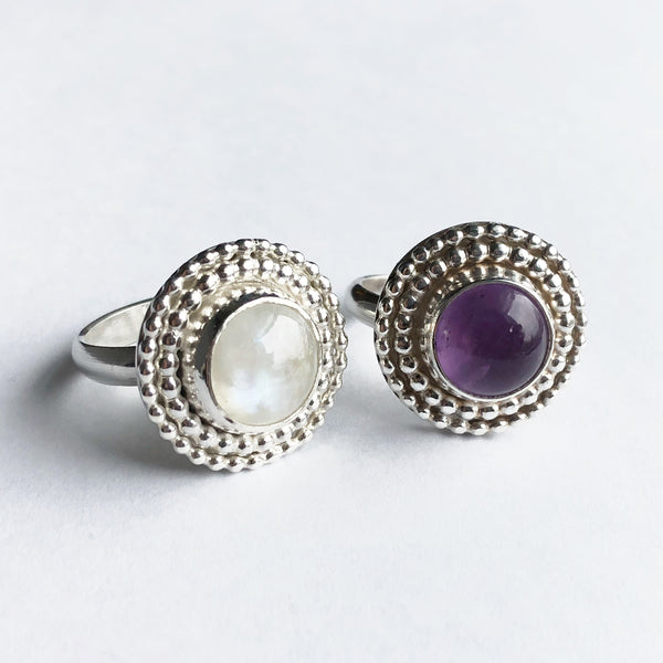 Moonstone and Amethyst cocktail rings