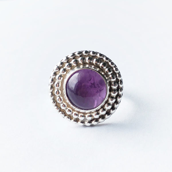 Amethyst and silver modern bohemian style ring