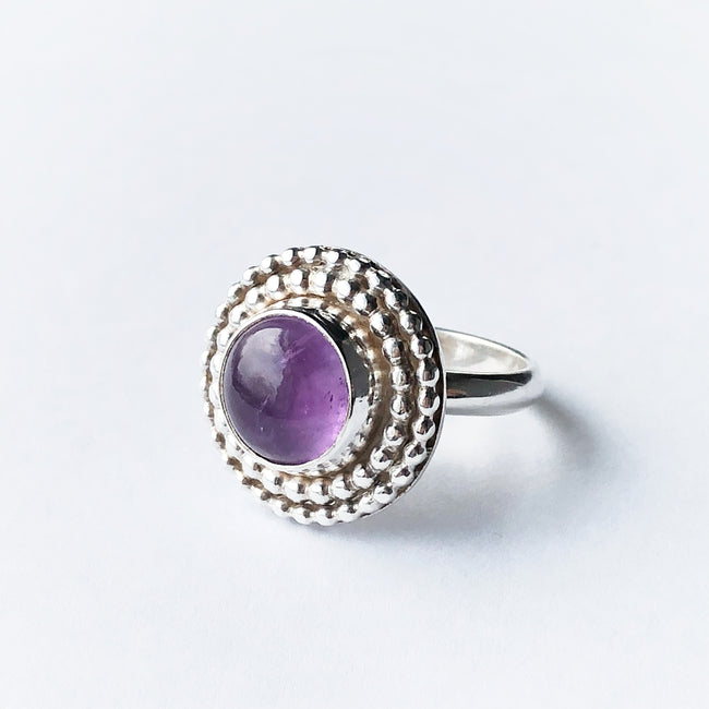 Amethyst and silver statement birthstone ring