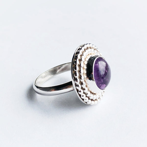 Silver and Amethyst February birthstone statement ring