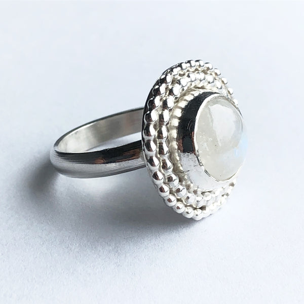 Moonstone and silver modern bohemian style ring