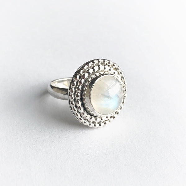 Rainbow moonstone and silver statement June birthstone ring