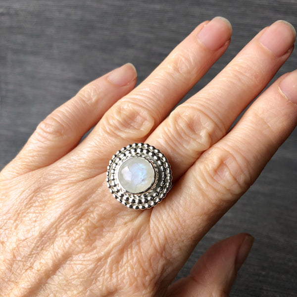 Glitzy sparkly moonstone statement ring