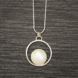 One of a Kind Moonstone and Sterling Silver Halo Pendant
