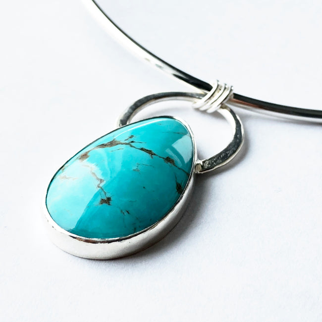Modern Bohemian Silver and Turquoise Encircled Choker