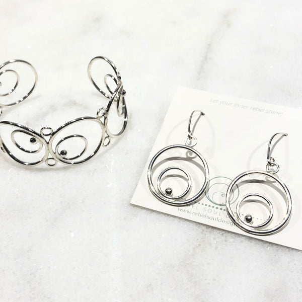 Silver circle drop earrings and matching bracelet