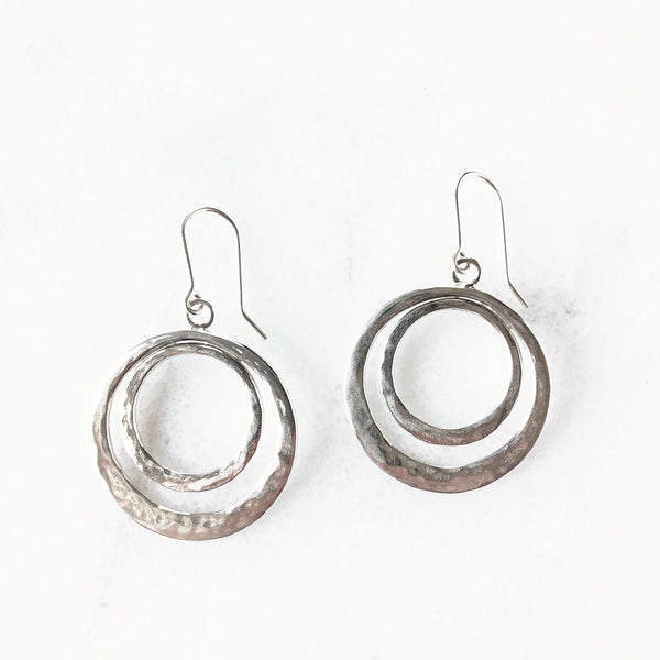 Bohemian silver double hoop earrings