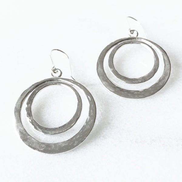Modern boho double hoop earrings in sterling silver