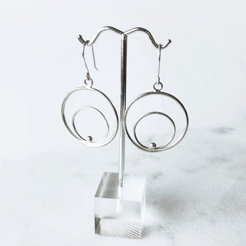 Astronomy inspired silver hoop earrings
