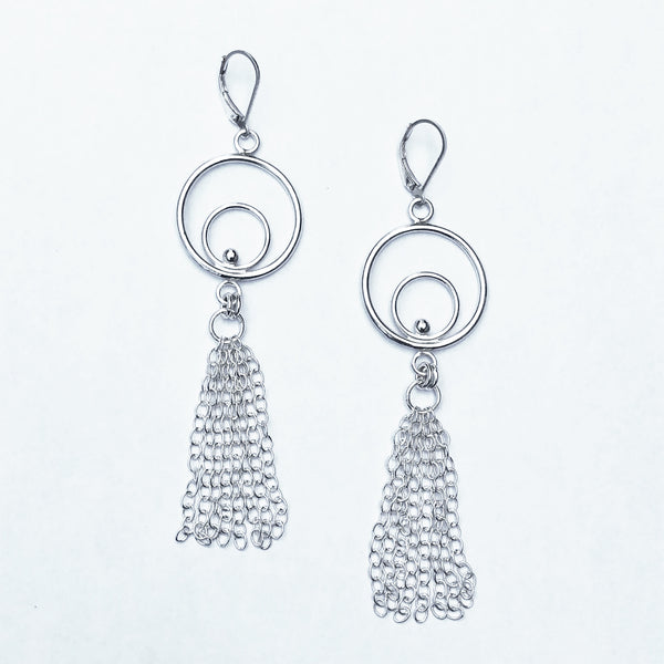 Circle tassel earrings in silver