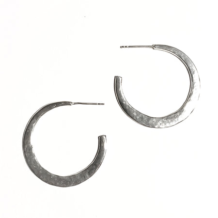Modern Bohemian Sterling Silver Hammered Hoop Earrings