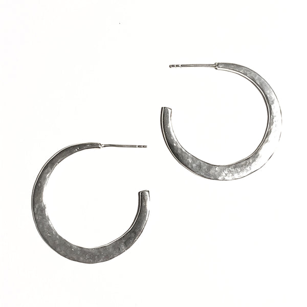 Modern bohemian silver hoops with post back