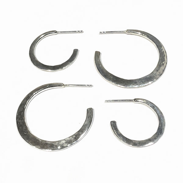Modern boho silver hoops in two sizes