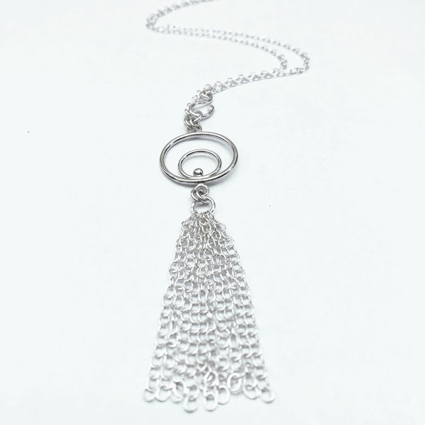 silver orbital fringe necklace
