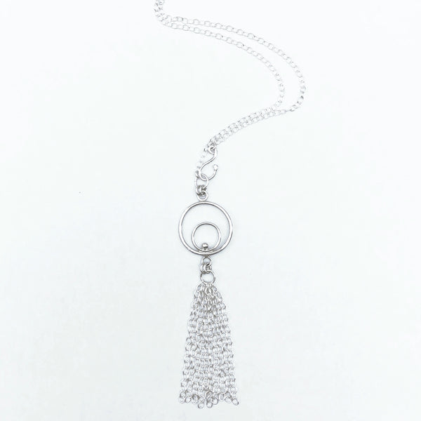 silver circle tassel necklace