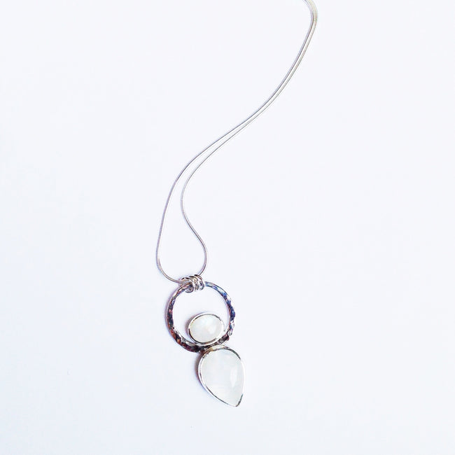 Rainbow moonstone and silver pendant