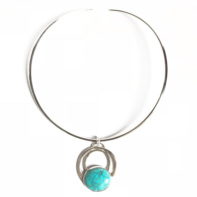 Modern style turquoise necklace