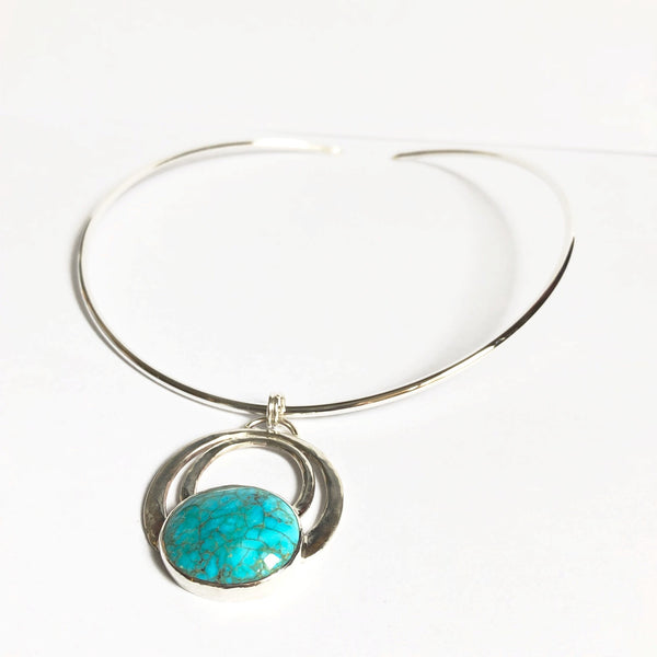 Silver and turquoise circle pendant