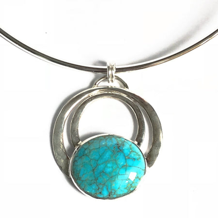 One of a Kind Silver Crescent and Turquoise Teardrop Pendant