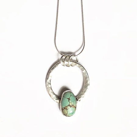One of a Kind Silver Crescent and Labradorite Pendant