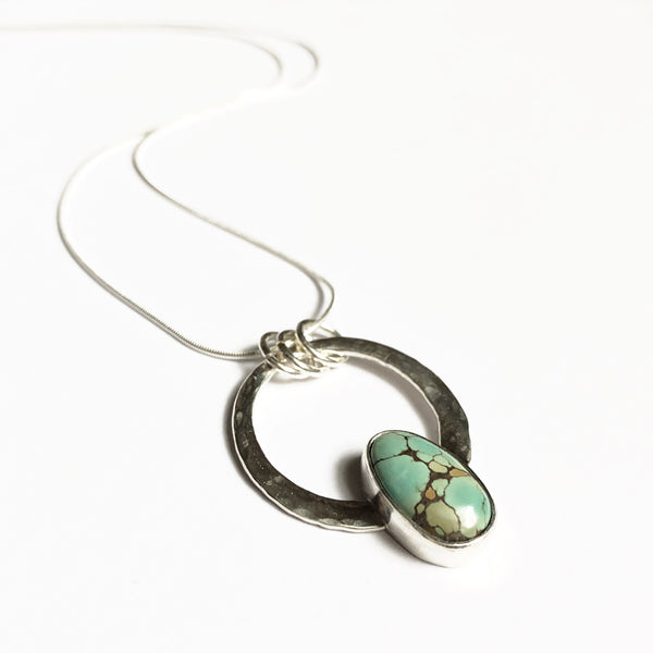 Modern Bohemian Small Encircled Pendant with Treasure Mountain Turquoise