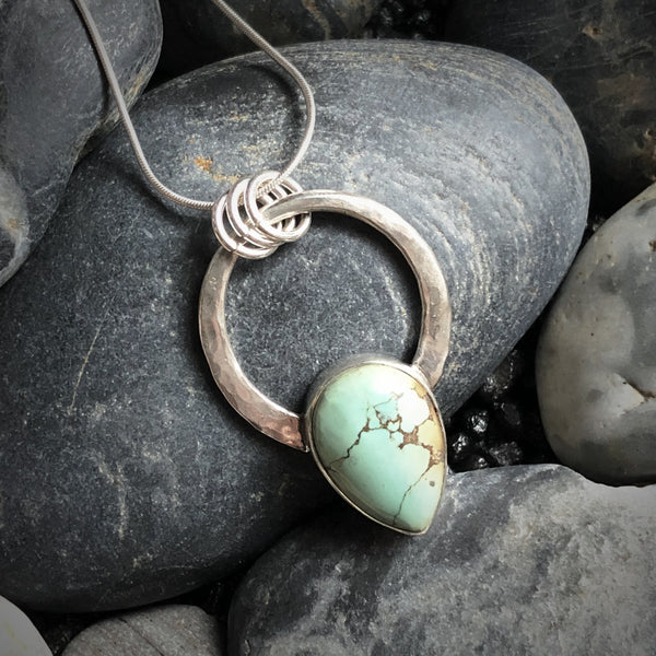 One of a kind Treasure Mountain turquoise pendant