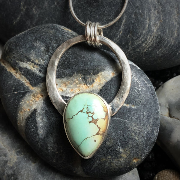 Small modern boho turquoise and silver circle necklace