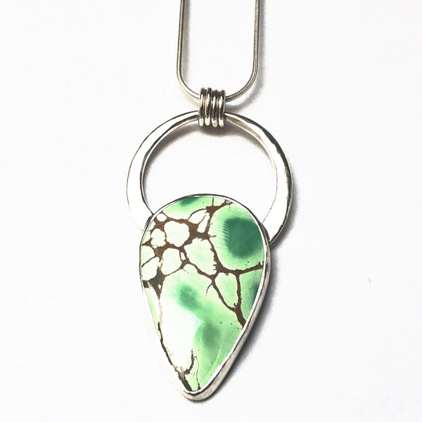 Boho Style Variscite and Silver Pendant